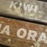 Kiwi, Kia Ora prints on re-used wood
