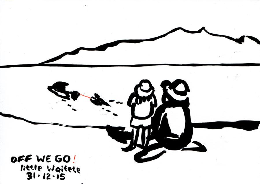 Daniel-Kirsch-drawings-Little-Waitete-Bay---Off-we-go!-31.12.2015